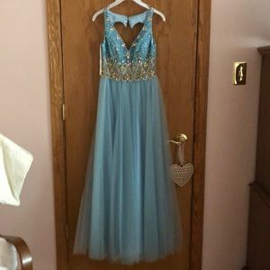 Blue Cinderella Prom Dress
